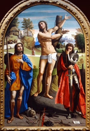 Curators at the National Gallery were shocked to find scratch marks on Ortolano's Saints Sebastian, Roch and Demetrius, painted around 1520.