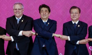 Scott Morrison, Abe Shinzo, and Moon Jae-in