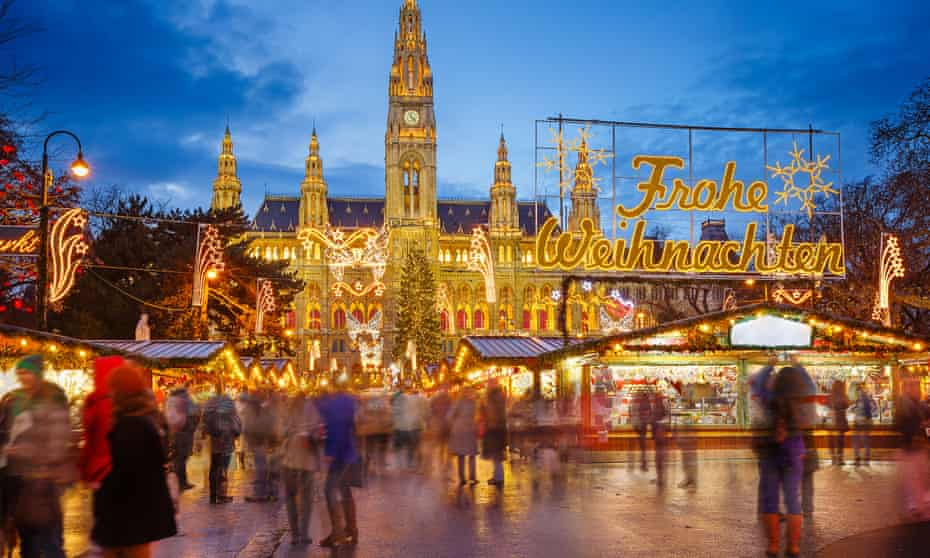 An open-air Christmas market in Vienna.