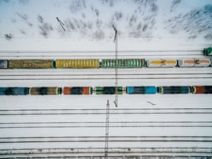 Moscow region, Russia An aerial view of trains
