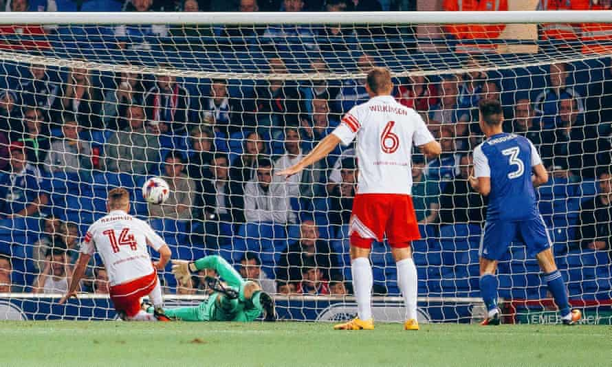 Ben Kennedy scores the only goal of the game as Stevenage knock out Ipswich in the EFL Cup.