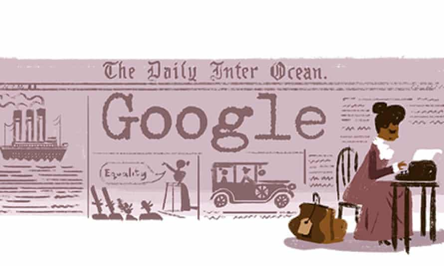 A screeshot of the Ida B Wells doodle on Google's home page, on Thursday.