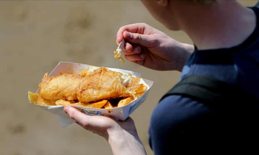 Fish and chips in Scarborough, UK