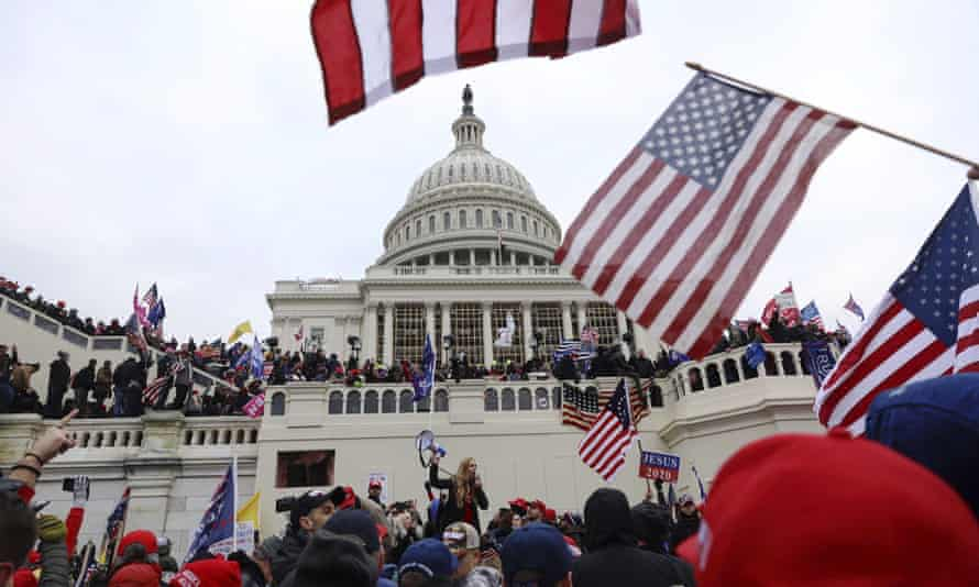 The scene outside the Capitol on 6 January. The presence of Christian nationalists was evident during the insurrection.