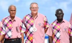 Solomon Islands Prime Minister Manasseh Sogavare (right) with Tonga's Prime Minister Akilisi Pohiva (left) and Australia's Prime Minister Scott Morrison (centre) at the Pacific Islands Forum in Funafuti, Tuvalu.