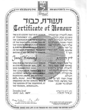 Jane Haining certificate of honour