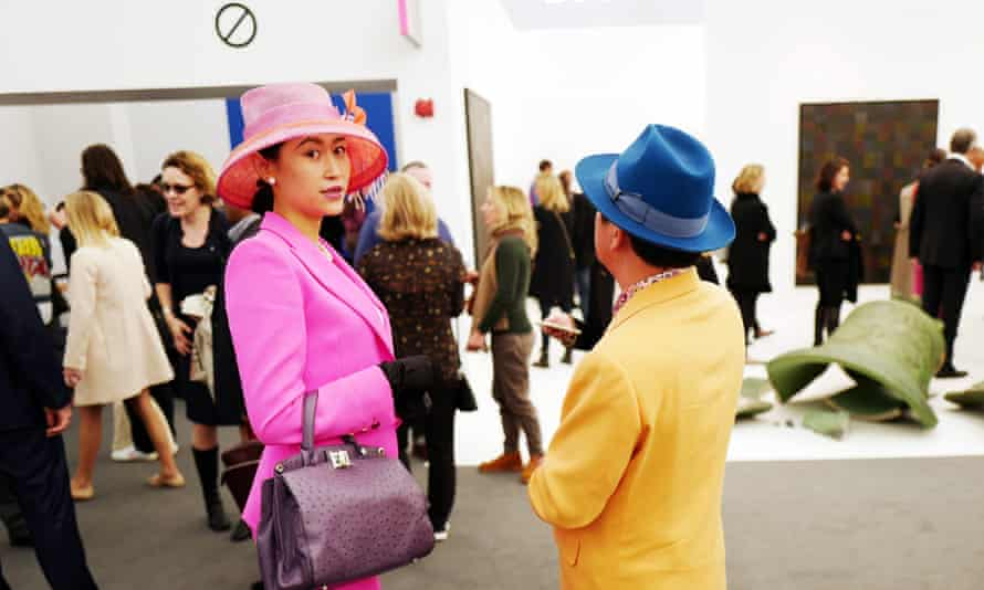 Two visitors to the Frieze art fair, 2016.