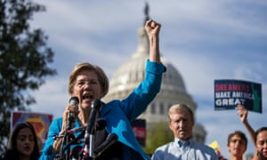 Elizabeth Warren at a news conference for pro-immigrant advocacy groups in Washington DC earlier this month.