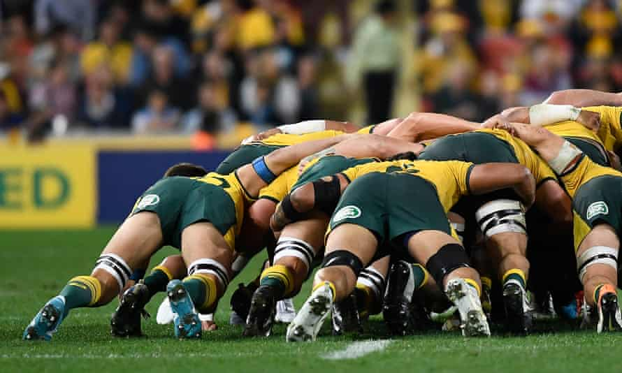 The Wallabies scrum is seen during the 2019 Rugby Championship Test Match.