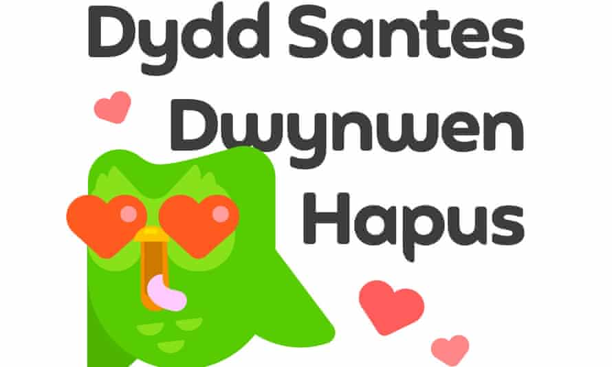 Duolingo bird with hearts