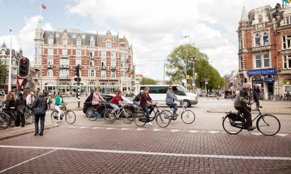 Busy intersection in Amsterdam