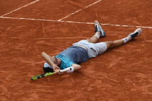 Italy's Marco Cecchinato celebrates after victory.