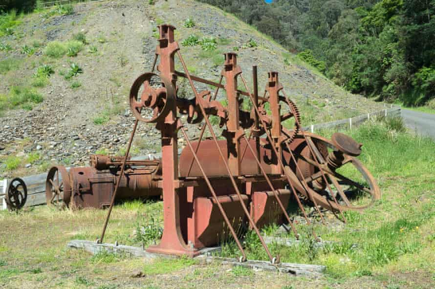 Old rusty mining equipment in the historic township of Walhalla.