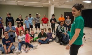 Katie Mann, co-founder of 4th Wall, leads a theater class at Michigan State University.