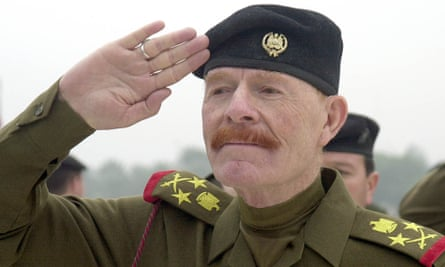 Izzat Ibrahim al-Douri during a ceremony at the monument to martyrs in Baghdad, Iraq, in 2002.