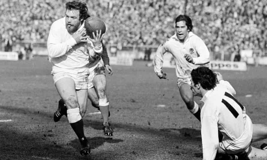 Alastair Hignell makes a break for England in their game against Wales at Cardiff Arms Park in 1979.