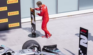 Sebastian Vettel switches the markers to place Lewis Hamilton second and himself first after the controversial finish at the Canadian Grand Prix.