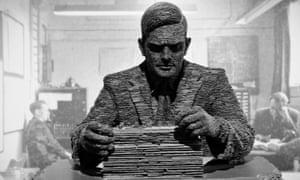 Sculpture of Alan Turing by Stephen Kettle at Bletchley Park, Milton Keynes, UK.<br>D1KEM1 Sculpture of Alan Turing by Stephen Kettle at Bletchley Park, Milton Keynes, UK.