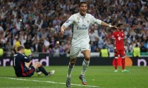 Cristiano Ronaldo celebrates scoring his third goal for his hat-trick against Bayern Munich.