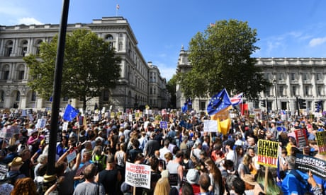Brexit: thousands turn out for 'Stop the Coup' protests across UK – live
