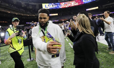 Odell Beckham Jr walks off the field after the NCAA College Football Playoff national championship game in New Orleans.