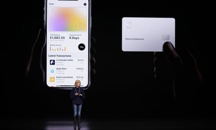 Jennifer Bailey, vice-president of Apple Pay, speaks about the Apple Card at the Steve Jobs Theater during an event to announce new products in Cupertino, California.