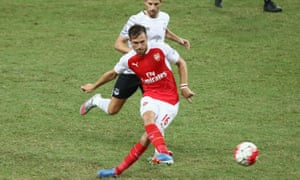Aaron Ramsey in pre-season action for Arsenal against Everton in Singapore