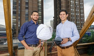 Designers of the O-Wind Turbine Yaseen Noorani (left) and Nicolas Orellana.