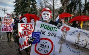 Kiev, Ukraine: Masked protesters