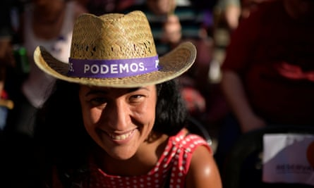 A Podemos supporter at a pre-election campaign event