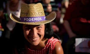 A supporter of Podemos attends a campaign event ahead of Spain's general election in 2016.