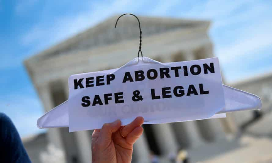 Abortion rights activists rally in front of the US supreme court in Washington DC, on 21 May 2019.