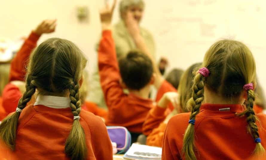 Primary school pupils with hands up, facing away from us