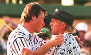 Nick Faldo and Greg Norman on Augusta's 18th green