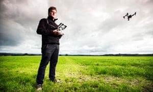 Tom Patterson flying a DJI Inspire drone near Reading.