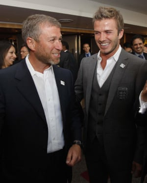 Roman Abramovich and David Beckham at the Fifa 'bidding expo' in Johannesburg in June 2010.