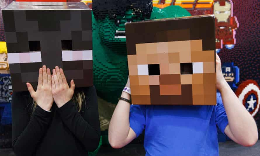 Children dressed as characters from Minecraft