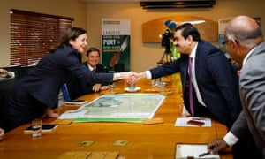 Adani Group chairman Gautam Adani meets with the Queensland premier, Annastacia Palaszczuk\