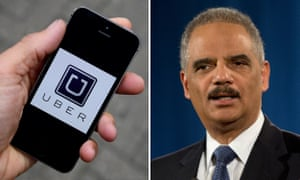 Uber app logo and Eric Holder