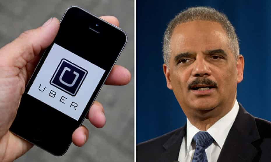 Uber app logo and Eric Holder