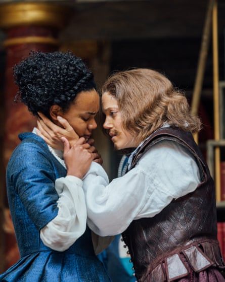 Leah Harvey and Charity Wakefield as Emilia and William Shakespeare.