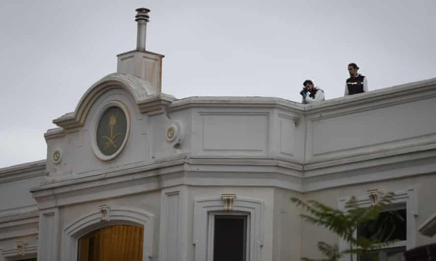 Investigators at work on the rooftop of the residence of Saudi Arabia's consul general