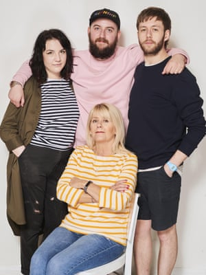 Jack Bolton, 22, Community Clothing Manager; Rowan Clay, 20, Student; Angie Bolton, 55, works in retail; and Luke Allen 29, English TeacherPink sweatshirt, £39, striped t-shirt, £35, and dress worn open, £59, yellow breton top, £35, and navy sweatshirt, £39