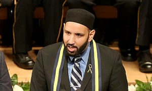 Imam Omar Suleiman speaks during the Interfaith Memorial honoring the Dallas shooting victims at The Morton H. Meyerson Symphony Center on July 12, 2016 in Dallas, Texas.