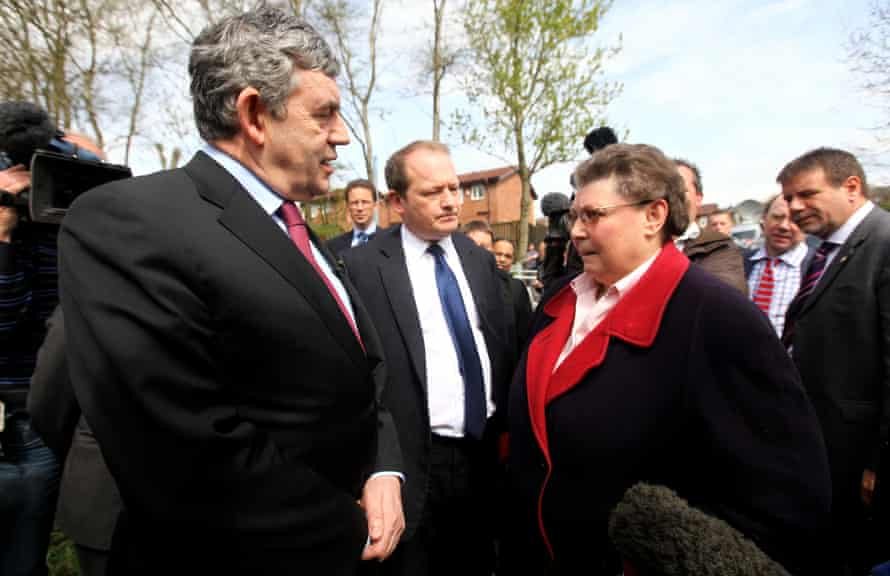 Gordon Brown speaking with Rochdale resident Gillian Duffy, in the run-up to the 2010 general election.