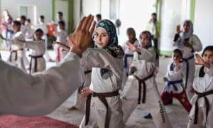 Taekwondo academy in Zaatari refugee camp, Jordan