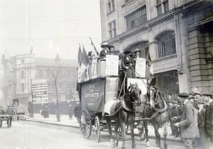 A carriage advertising the Suffragette