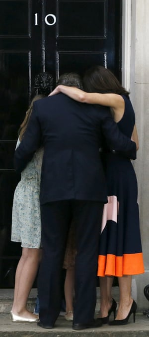 David Cameron and his family hug on the steps of 10 Downing Street in London in July 2016 after he stepped down as British prime minister