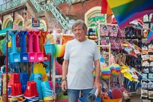 Ron Smith at his souvenir shop, Brighton