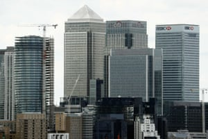 The Canary Wharf finance district of London.